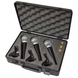 Kit De 3 Micrófonos En Valija Profesional Gcm Pro G-3