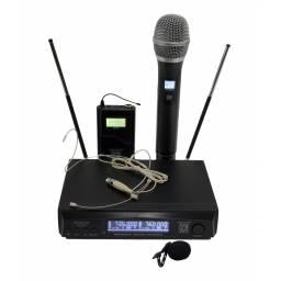 Microfono doble Frecuencia Variable Vincha + Mano + Solapa GCM PRO GS-3500UHF
