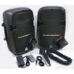Combo 2 bafles Parlantes Activos bateria 12v + 220v con BT FM USB Micro Combo8ABFM