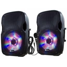 Combo 2 Caja Activa + Caja Pasiva - con lector USB y Bluetooth + Microfono - iRocker GCM Pro